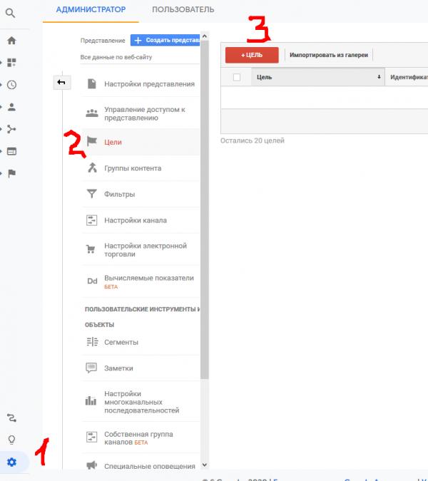 Добавление цели в Гугл аналитикс